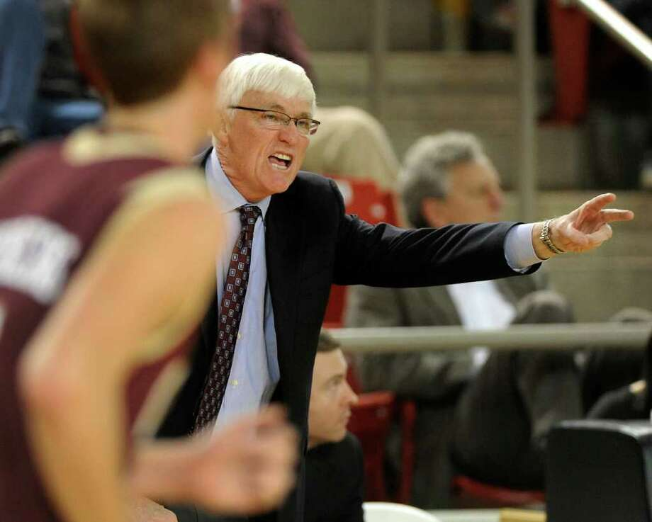 College of Charleston head coach Bobby Cremins yells instructions to his team as they bring the ball upcourt during first-half action against the Davidson Wildcats on Thursday, January 19, 2012 at John M. Belk Arena on the campus of Davidson College in Davidson, North Carolina. (Jeff Siner/Charlotte Observer/MCT) Photo: Jeff Siner / Charlotte Observer