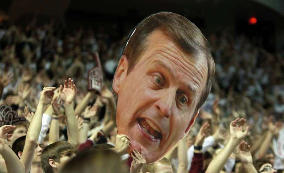 A cut out of Texas head coach Rick Barnes taunts a Texas free throw shooter during the first half of a NCAA basketball game, Monday, Feb. 6, 2012, in Reed Arena in College Station Photo: Nick De La Torre, Houston Chronicle / © 2012  Houston Chronicle