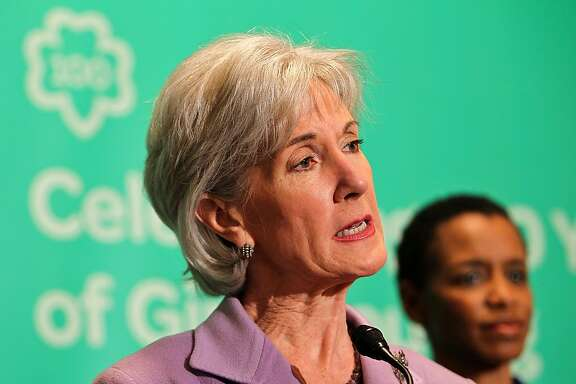 WASHINGTON, DC - FEBRUARY 01:  U.S. Secretary of Health and Human Services Kathleen Sebelius shares remarks at Girl Scouts At 100: The Launch of ToGetHerThere at Capitol Hill Cannon House Office Bldg, Caucus Room on February 1, 2012 in Washington, DC.  (Photo by Paul Morigi/Getty Images for Girl Scouts of America)