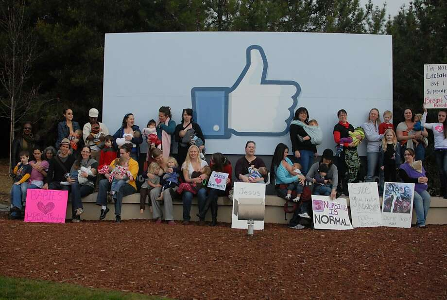 A group of mothers participated in a nurse-in demonstration against Facebook on Feb 6th 2012. The protesters says the social network company erroneously suspends accounts for posting photos of mothers breast-feeding. Photo: Courtesy Of Paala Secor