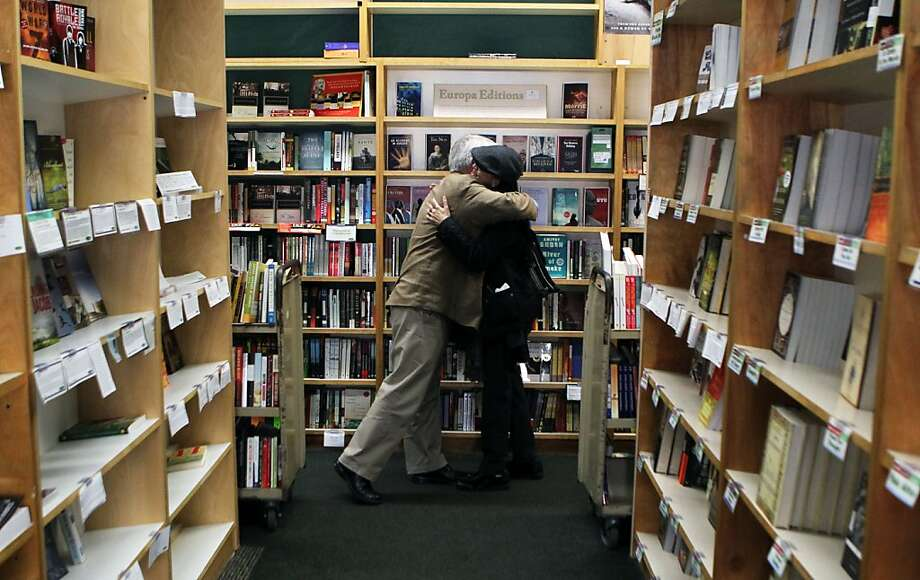 Clark Kepler, the last Kepler to run Kepler's Bookstore in Menlo Park gets a hug from former store volunteer pia Hattiangdi on his last day before retirement Tuesday, January 31, 2012 Photo: Lance Iversen, The Chronicle