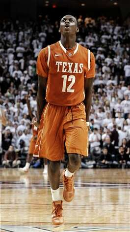 Texas' Myck Kabongo celebrates at the end of an NCAA college basketball game against Texas A&M on Monday, Feb. 6, 2012, in College Station, Texas. Texas won 70-68. (AP Photo/Pat Sullivan) Photo: Pat Sullivan, Associated Press / AP