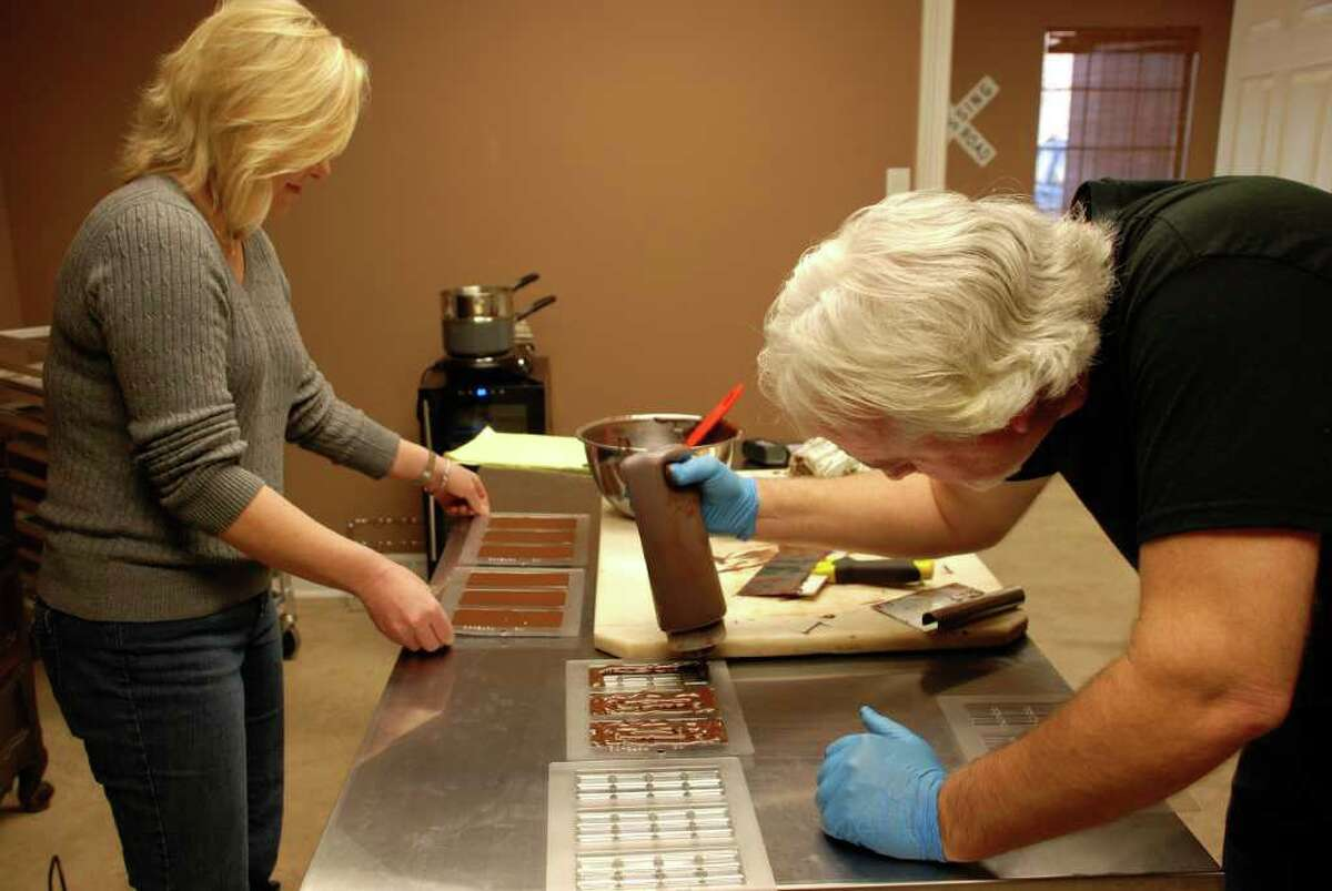 Scott Moore Jr. and Michelle Holland, the owners of Tejas Chocolate in Spring, make their own bars from cacao beans, which they roast and grind themselves.