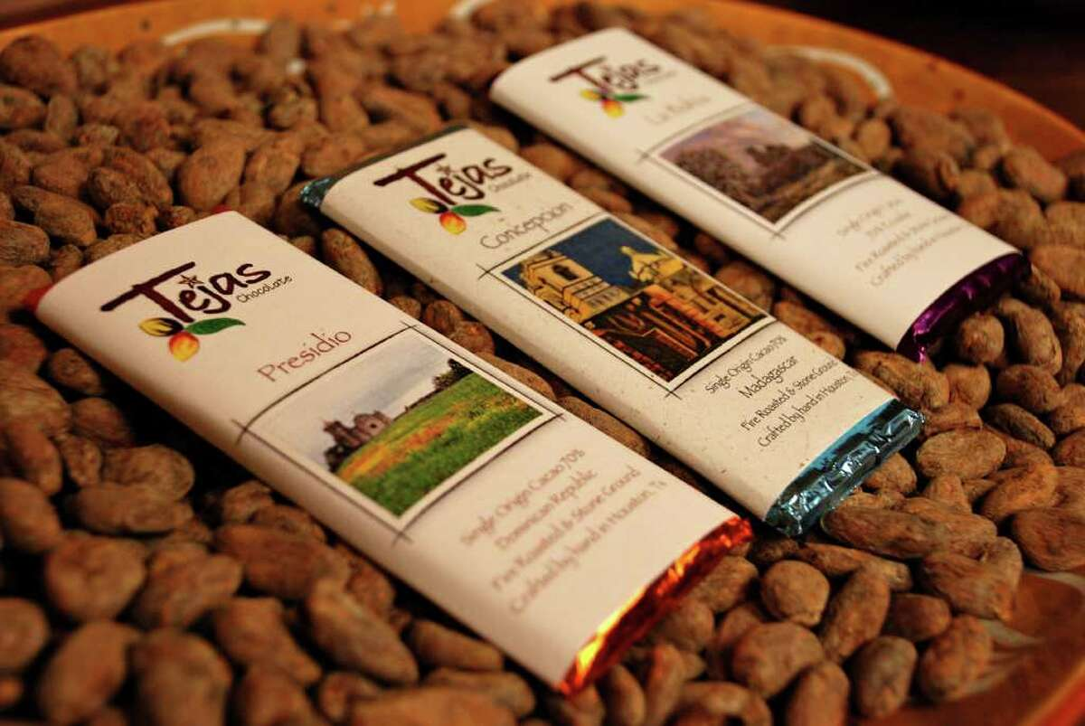 Each bar of Tejas Chocolate is wrapped with a label bearing art by a Texas artist. The art and the title for the bars come from Texas towns like Concepcion and Presidio - that either inspired the flavor by an ingredient or an attitude.Current as of Jan. 13, 2015.