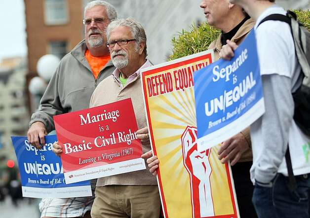 Opponents of Proposition 8, California's anti-gay marriage bill, demonstrate outside of the Ninth U.S. Circuit Court of Appeals on February 7, 2012 in San Francisco, California. A three-judge panel of the 9th U.S. Circuit Court of Appeals will deliver a ruling today on whether the voter-approved Proposition 8 measure violates the civil rights of gay men and lesbians. Photo: Justin Sullivan, Getty Images