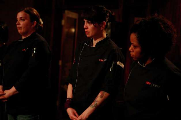 "TOP CHEF -- ""Game On"" Episode 907 -- Pictured: (l-r) Heather Terhune, Dakota Weiss, Nyesha Arrington -- Photo by: Vivian Zink/Bravo Photo: Vivian Zink / © Bravo"