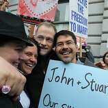 (Left to right): Same-sex couples Kristen Orbin, Teresa Rowe, John Lewis and Stuart Gaffney embrace as they celebrate outside of the Ninth U.S. Circuit Court of Appeals on February 7, 2012 in San Francisco, California. A three-judge panel of the 9th U.S. Circuit Court of Appeals ruled that the voter-approved Proposition 8 measure violates the civil rights of gay men and lesbians.