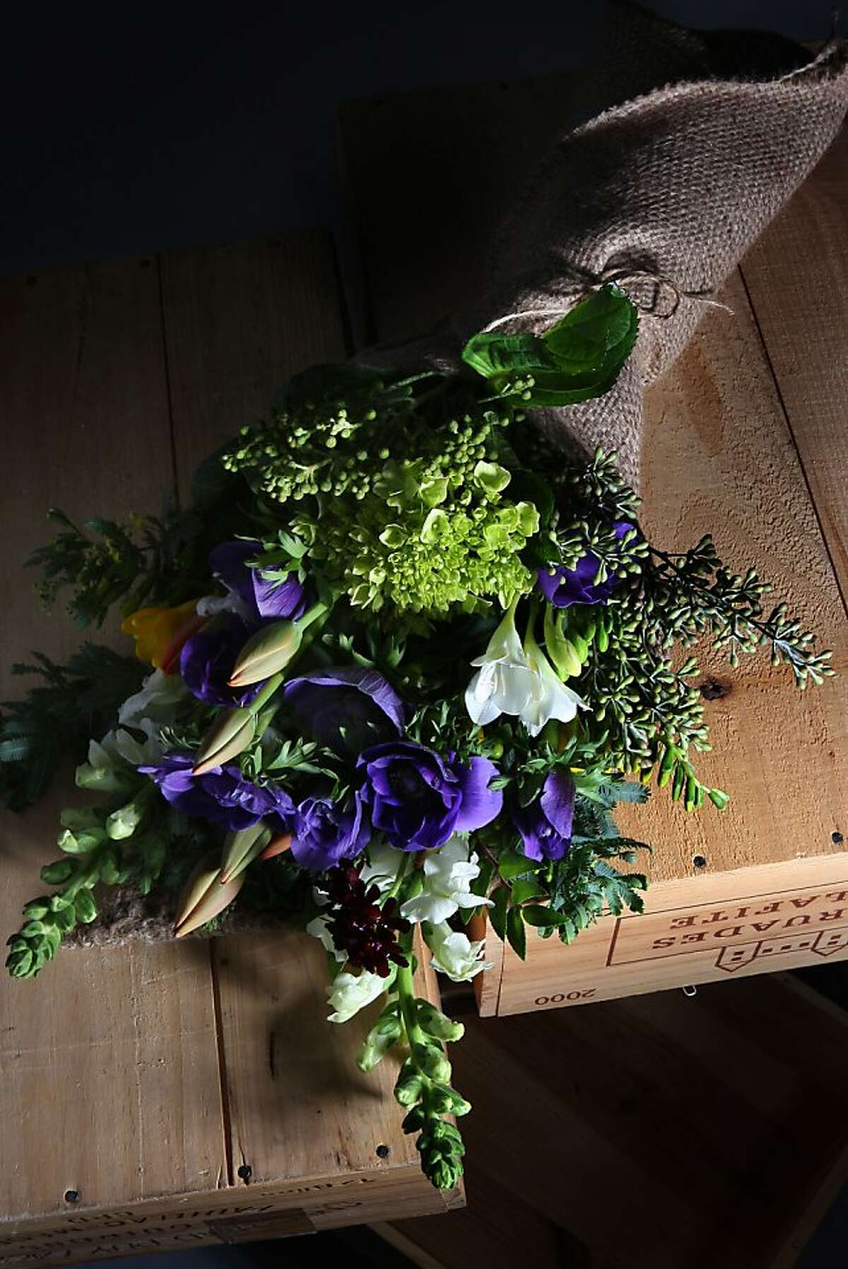 A flower arrangement made by eco-minded florist Christina Stembel of Farmgirl Flowers in San Francisco, Calif., on Thursday, February 2, 2012. She sources flowers and plants which are locally grown.