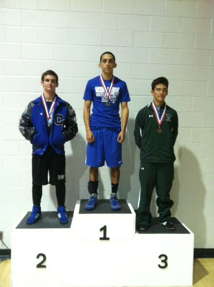 West Brook's Chris Reyes won the 132-pound weight class at the district wrestling tournament. Photo: Courtesy Photo