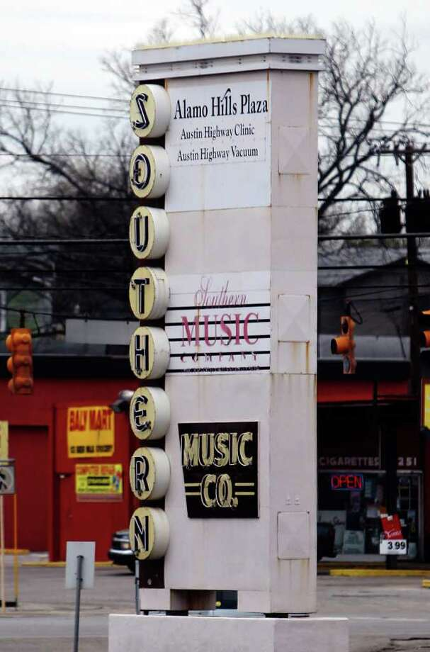 The original signage for Southern Music Co. that once hung on the store at its Broadway location was brought over the Austin Highway store when it moved years ago. Photo: Kin Man Hui, San Antonio Express-News / San Antonio Express-News