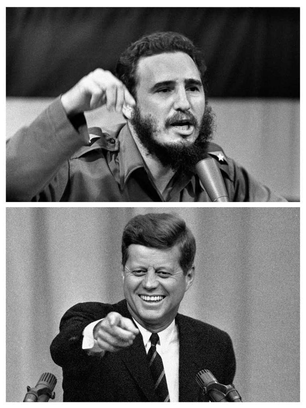 This two file photo combo shows, above: Cuban leader Fidel Castro delivering a speech regarding his conversation with U.N. Secretary General Maha Thray Sithu U Thant in Cuba, Oct. 23, 1962, and below, President John F. Kennedy calls on a reporter at a news conference in Washington, April 3, 1963.