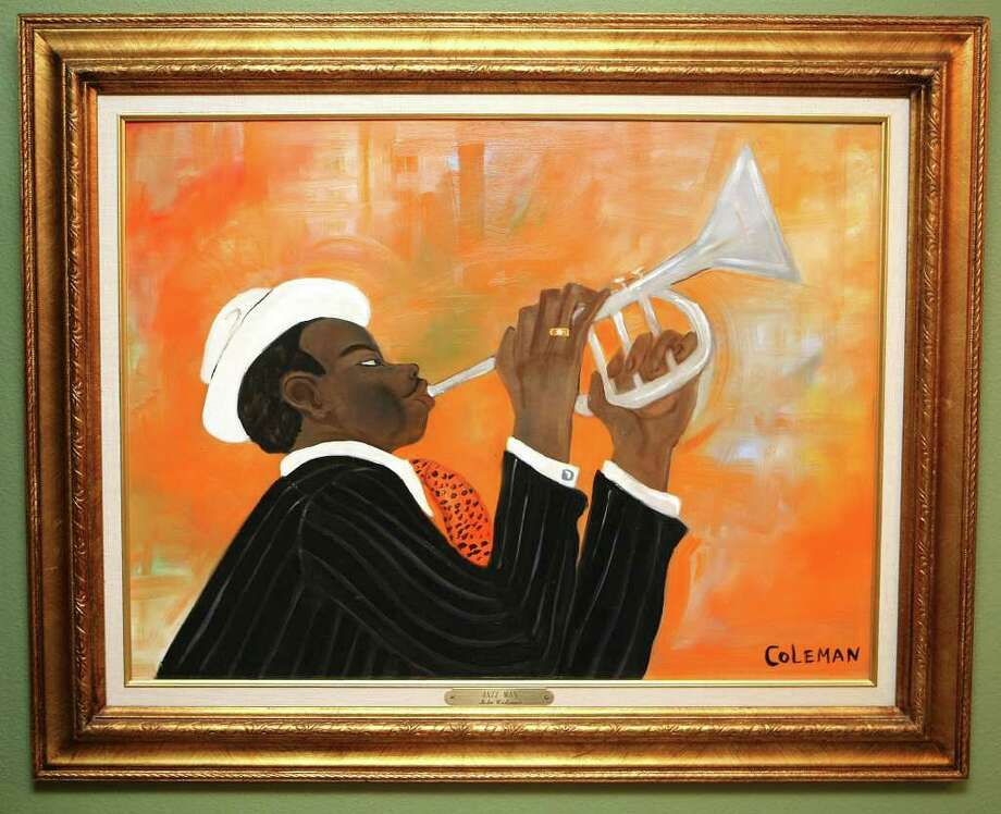 "Lila Cockrell has focused on local African American artists in her personal art collection. Among the pieces in her collection is ""Jazz Man,"" by John Coleman. Photo: Helen L. Montoya, San Antonio Express-News / hmontoya@express-news.net"
