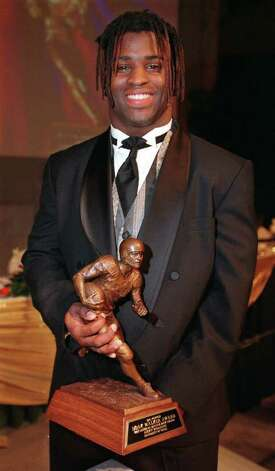 Texas running back Ricky Williams holds the Doak Walker award Tuesday, Jan. 20, 1998, in Dallas. Walker was the nation's leading rusher and scorer in the 1997 season. (AP Photo/Jon Freilich) Photo: JON FREILICH, AP/Express-News / AP