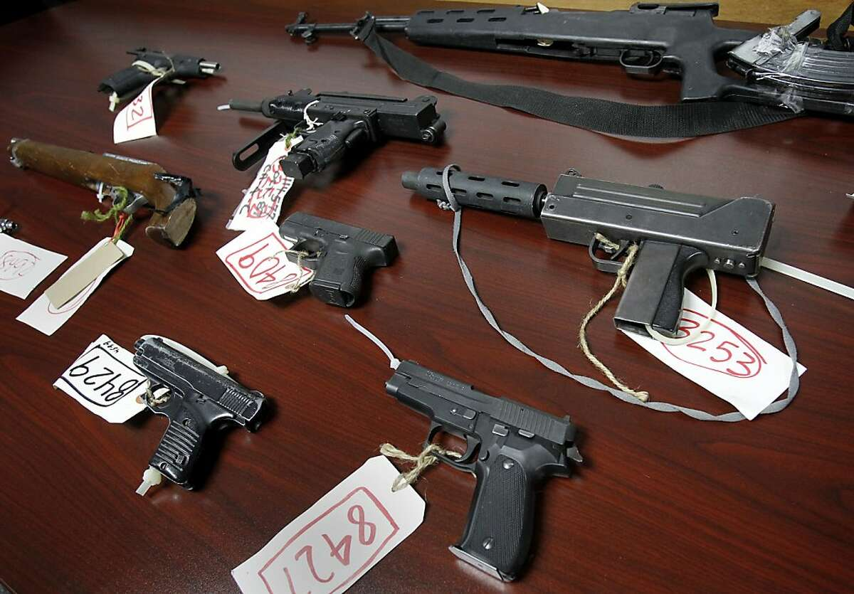 Some of the weapons used in the latest violent episodes were displayed at the press conference. Oakland Police Chief Howard Jordan held a press conference with members of the community to talk about the recent rash of violence in the city Tuesday February 7, 2012.