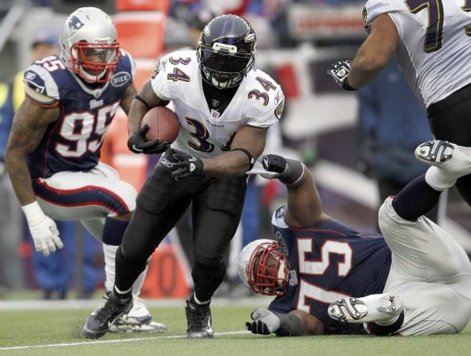 Ricky Williams made it to the AFC Championship in this, his final season. He ran for 444 yards and two touchdowns in a reserve role. He announced his retirement Feb. 7, 2012, with a year left on his Ravens' contract. (Winslow Townson / AP)