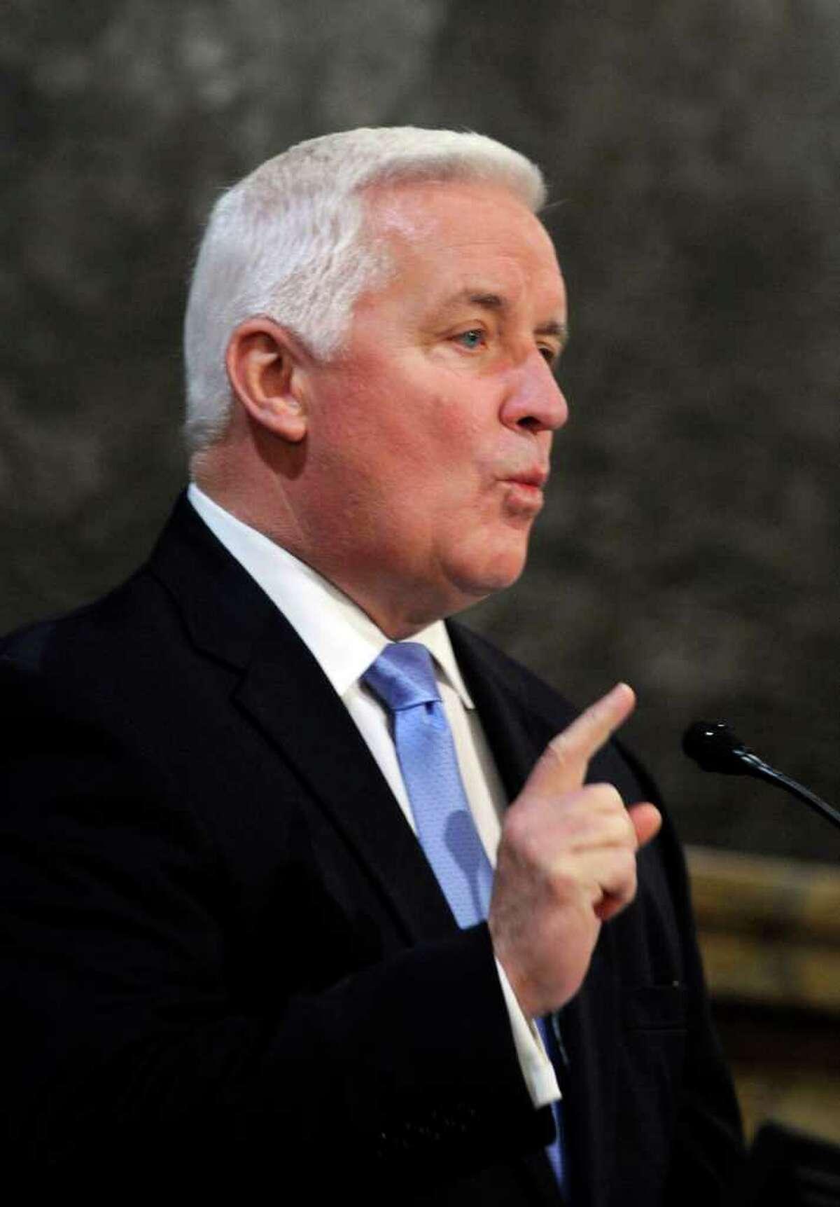Pennsylvania Gov. Tom Corbett unveils his 2012-13 state budget proposal before the Pennsylvania House Chamber Tuesday, Feb. 7 2012 in Harrisburg, PA.(AP/Bradley C Bower)