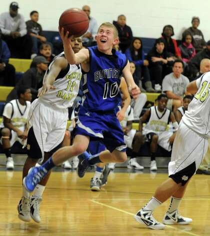 Bunnell's #10 Matthew Nolting goes up to the basket, during boys basketball action against Notre Dame of Fairfield in Fairfield, Conn. on Tuesday February 7, 2012. Photo: Christian Abraham / Connecticut Post