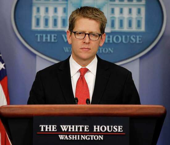 White House Press Secretary Jay Carney listens during his daily news briefing at the White House in Washington, Tuesday, Feb., 7, 2012. (AP Photo/Pablo Martinez Monsivais) Photo: Pablo Martinez Monsivais