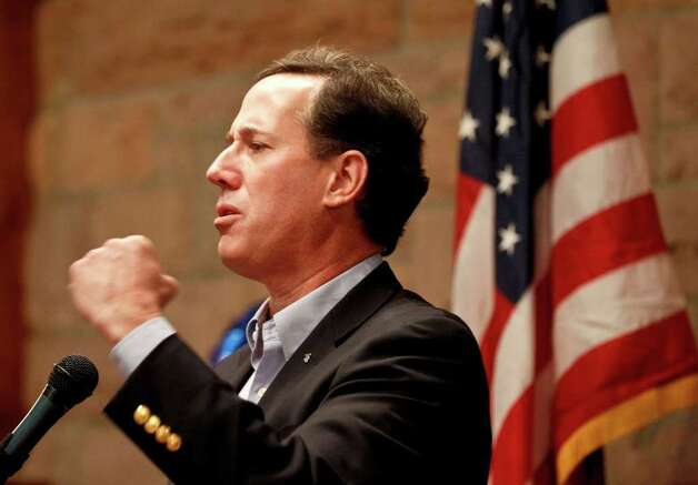 Republican presidential candidate, former Pennsylvania Sen. Rick Santorum speaks in Colorado Springs, Colo., Tuesday, Feb. 7, 2012. (AP Photo/Chris Carlson) Photo: Chris Carlson