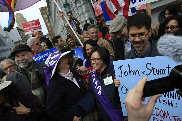 Same sex marriage supporters celebrate outside the James R. Browning United States Courthouse after a federal appeals court declared California's ban on same-sex marriage unconstitutional on Tuesday, February 7, 2012 in San Francisco, Calif. Photo: Lea Suzuki, The Chronicle