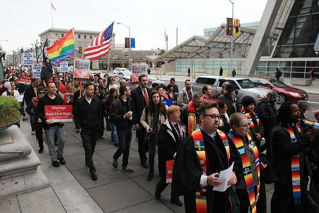 Same sex marriage supporters march from the James R. Browning United States Courthouse to San Francisco City Hall on Tuesday, February 7, 2012 in San Francisco, Calif. A federal appeals court declared California's ban on same-sex marriage unconstitutional today, saying a state can't revoke gay rights solely because a majority of its voters disapprove of homosexuality. Photo: Lea Suzuki, The Chronicle