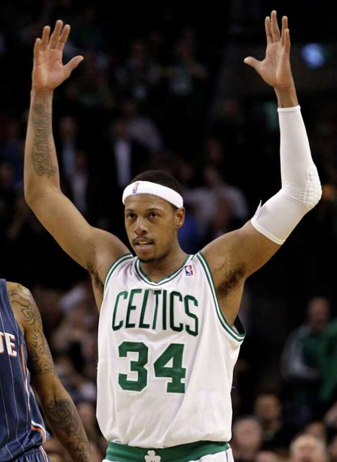 Celtics forward Paul Pierce passed Larry Bird for No. 2 on the team's scoring list in the third quarter. Photo: AP