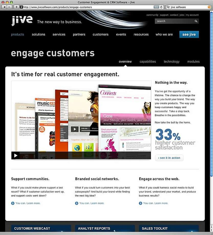 A screenshot of Jive Software's web site. Photo: Jive Software