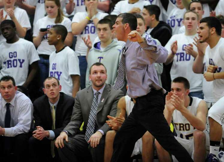 Troy's head coach Richard Hurley reacts on the sideline during a basketball game against CBA on Tues