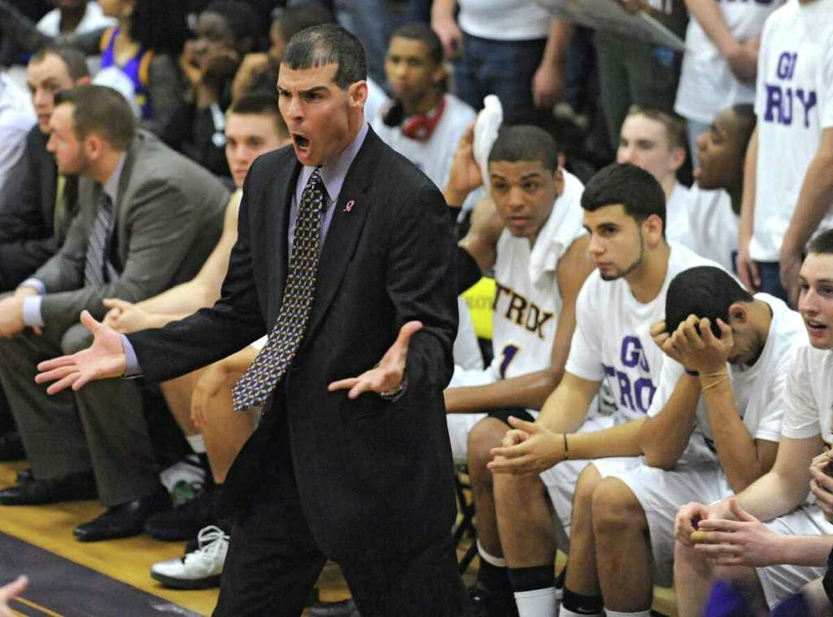 Troy's head coach Richard Hurley reacts on the sideline during a basketball game against CBA on Tuesday, Feb. 7, 2012 in Troy, N.Y. (Lori Van Buren / Times Union)