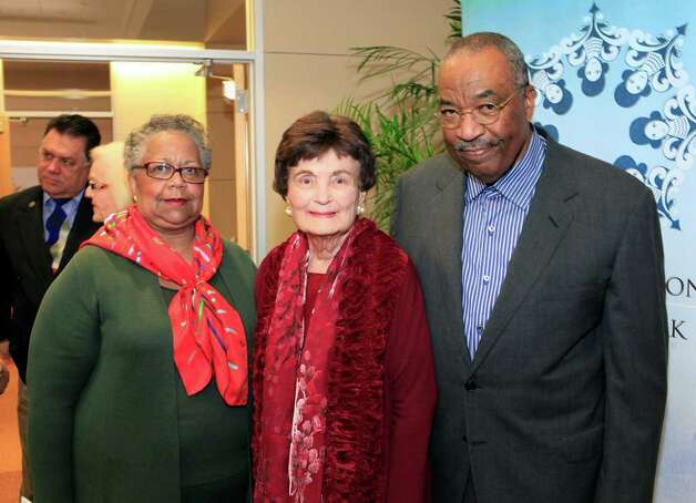 Harriet Kelly, Lila Cockrell and Dr. Harmon Kelley. During her remarks addressing the reception, Cockrell aknowledged the Kelly's as getting her started collecting African American Artists after attending a dinner at their residence. In celebration of Black History Month, Port San Antonio partnering with the Women's Pavilion at HemisFair Park hosts the opening reception for Mayor Lila Cockrell's African American Art Collection, Thursday, February 2, 2012. Photo: J. Michael Short , For The Express-News / The San Antonio Express-News