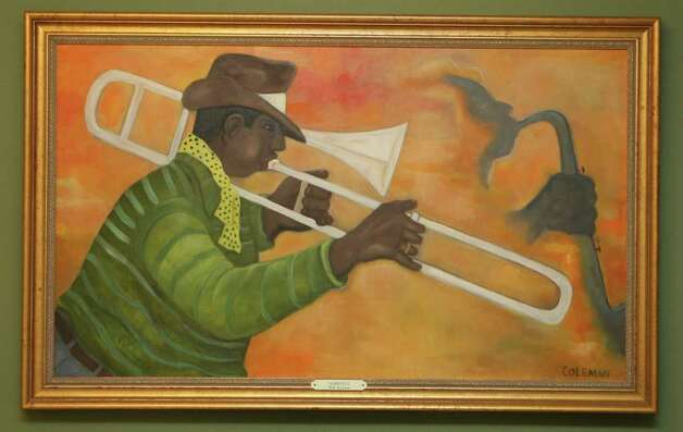 """Trombonist,"" by John Coleman, is owned by former Mayor Lila Cockrell. She has over the years built an impressive collection of art by local and regional artists. Photo: Helen L. Montoya, San Antonio Express-News / hmontoya@express-news.net"