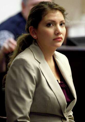 Jenny Ybarra looks Tuesday, Feb. 7, 2012 through the gallery at the 437th District Court at the Cadena Reeves Justice Center during her intoxication manslaughter trial for the death of Erica Nicole Smith. Photo: William Luther, San Antonio Express-News / © 2012 SAN ANTONIO EXPRESS-NEWS
