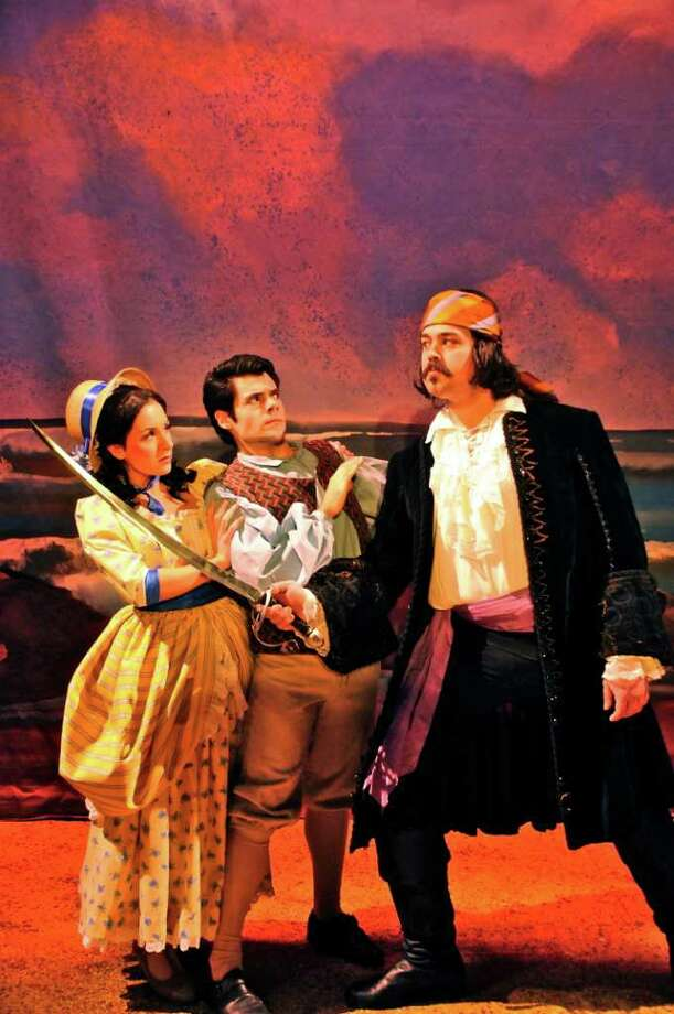 Kellie Cundiff as Mabel, John Farchione as Frederic and Jesse Coleman as the Pirate King in ??The Pirates of Penzance? at Cohoes Music Hall. THERESA M. THIBODEAU photo