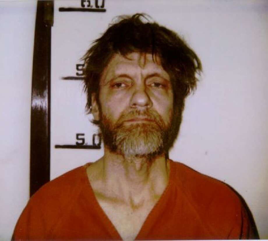 Ted J. Kaczynski, the famed 'Unabomber,' is shown in this 1996 booking photo. Kaczynski, a former assistant professor at UC Berkeley, killed three people and injured several more with mail bombs sent over a 20-year period. (AP / File)