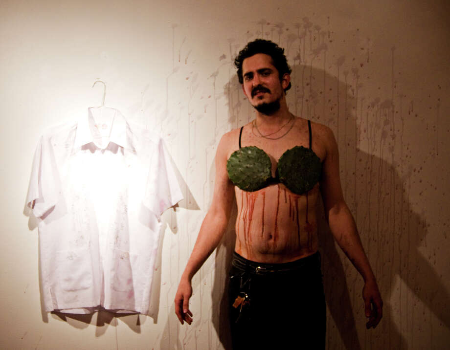 Jimmy James Canales suffers for his art at Cactus Bra Space. Photo: COURTESY EMILY MESSER