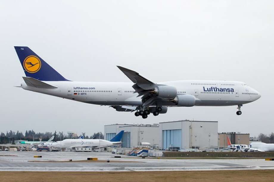 The first Boeing 747-8 Intercontinental painted for airline launch customer Lufthansa lands at Paine Field, in Everett, Wash., after its first flight on Feb. 8, 2012. More details and photos Photo: Liem Bahneman/NYC Aviation