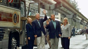 Presidential visits are somewhat common in Seattle. Barack Obama was here multiple times and is coming again later this year. Bill Clinton, shown here under the monorail with Hillary Clinton, Al and Tipper Gore, ran Green Lake in 22:40. Probably the most significant presidential visit was on July 27, 1923 when Warren G. Harding made his last speech at Husky Stadium. He became ill in Seattle and died days later in San Francisco of pneumonia and thrombosis in San Francisco on August 2, 1923.