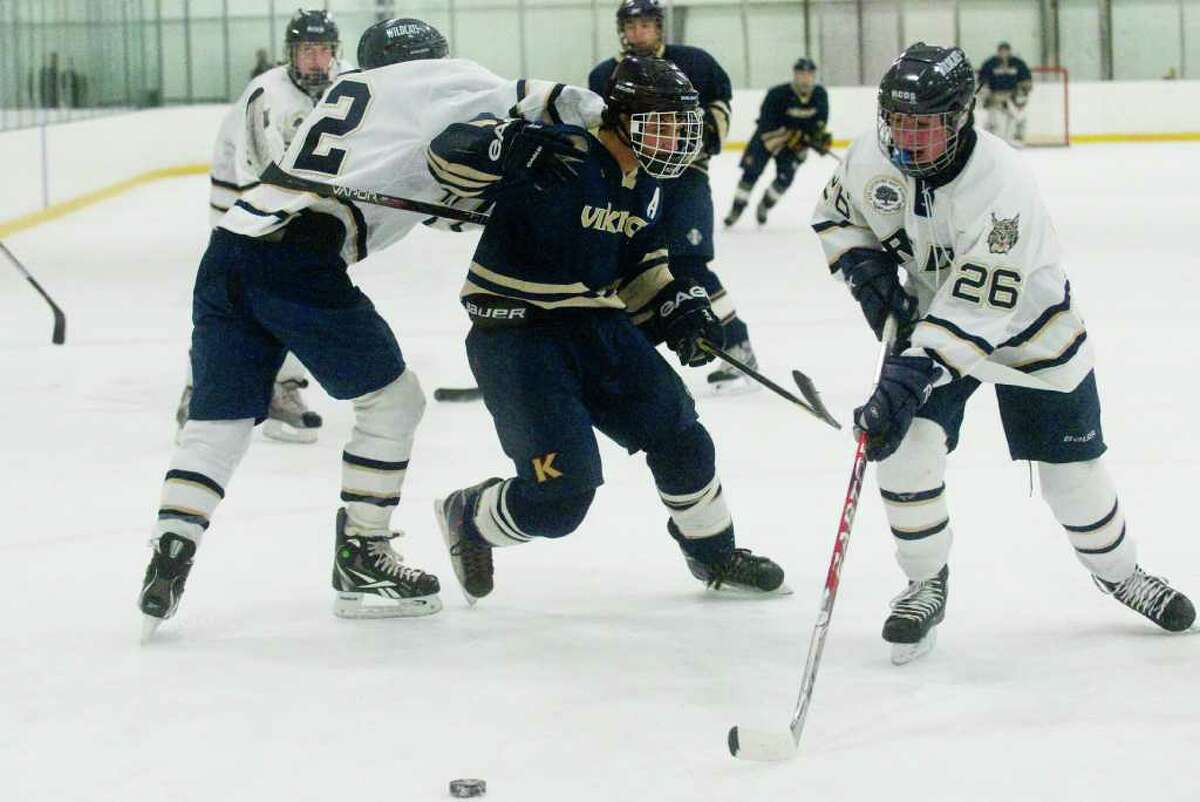 King's Anthony DeLuca cuts through the Rye defense as King hosts Rye Country Day in a boys hockey game at the Twin Rinks in Stamford, Conn., February 8, 2012.