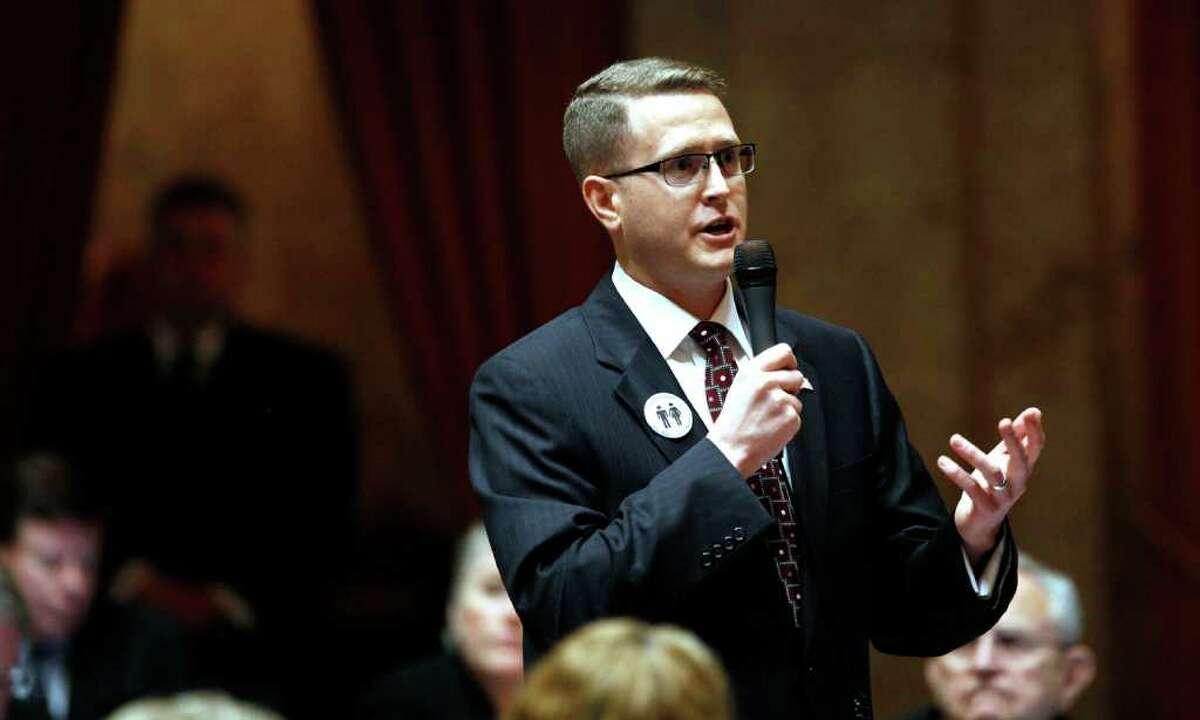 "Rep. Matt Shea, R-Spokane Valley, sponsor of legislation tht would make Washington a new state. He gets an ""F minus"" grade from the Alliance for Gun Responsibility."