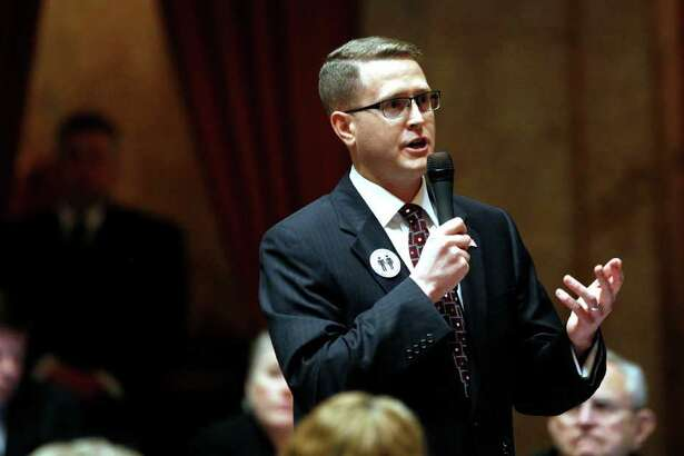 Rep. Matt Shea, R-Spokane Valley, speaks about a proposed amendment to a gay marriage bill Wednesday, Feb. 8, 2012, in Olympia, Wash. Lawmakers are poised to legalize gay marriage in Washington state, which would make it the seventh state in the nation to allow same-sex couples to wed.