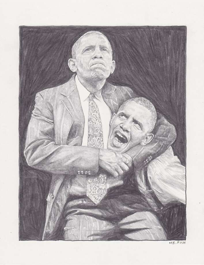 "Mr. Fish's ""Barack vs. Obama"" (2011), part of a new show at Robert Berman/E6 Gallery Photo: Courtesy Of The Artist"