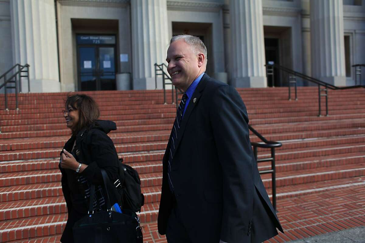 Richmond Police Chief Chris Magnus leaves the Justice Wakefield Taylor Courthouse on Wednesday, February 8, 2012 in Martinez, Calif.