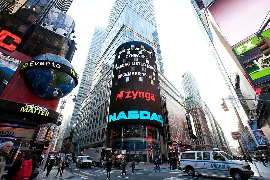 Nasdaq publicizes its companies on its seven-story billboard in New York's Times Square. Zynga, a San Francisco social network games developer, went public last year in December. Photo: Nasdaq