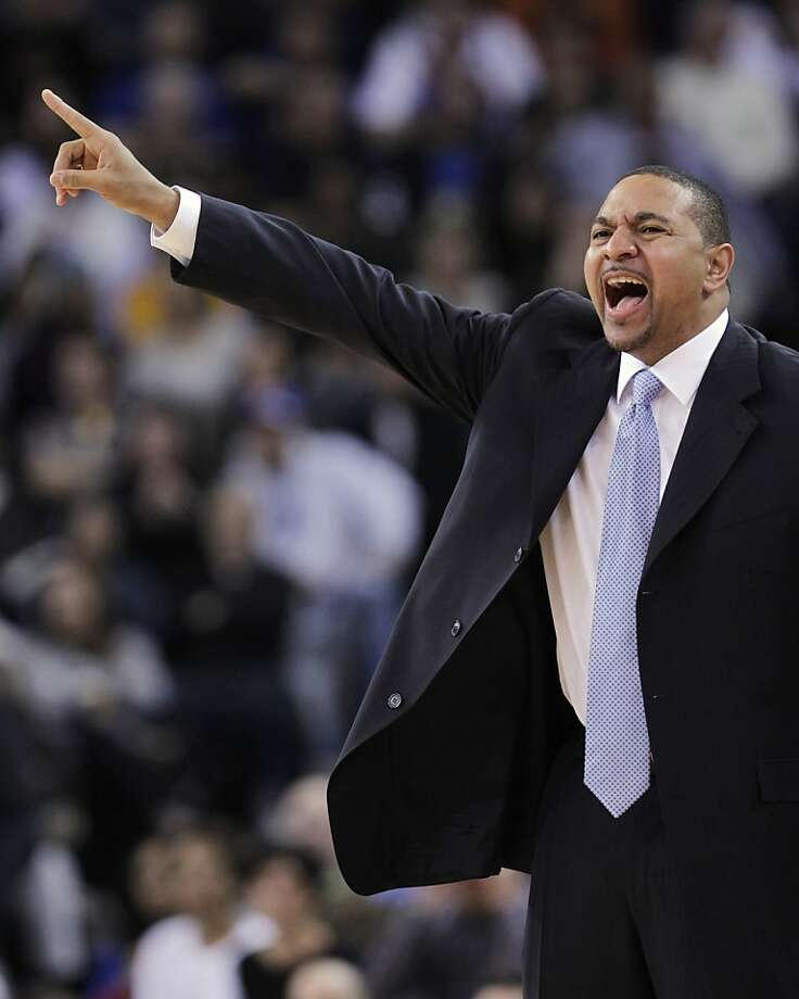 Golden State Warriors coach Mark Jackson shouts during the Warriors' NBA basketball game against the Oklahoma City Thunder, in the second quarter Tuesday, Feb. 7, 2012, in Oakland, Calif. Photo: Paul Sakuma, Associated Press