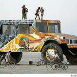 A huge art car, built for display not to drive, was exhibited on the playa of the 2008 Burning Man.