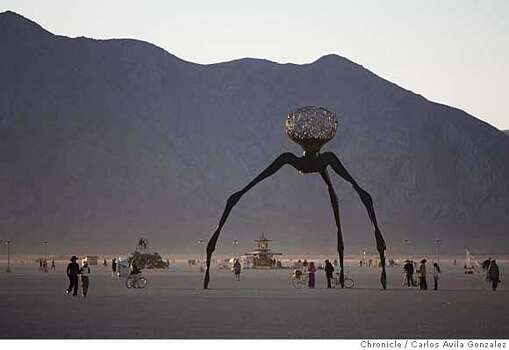 Art structure on the Playa on Friday, September 31, 2006, part of the Burning Man Festival.  Photo: Carlos Avila Gonzalez