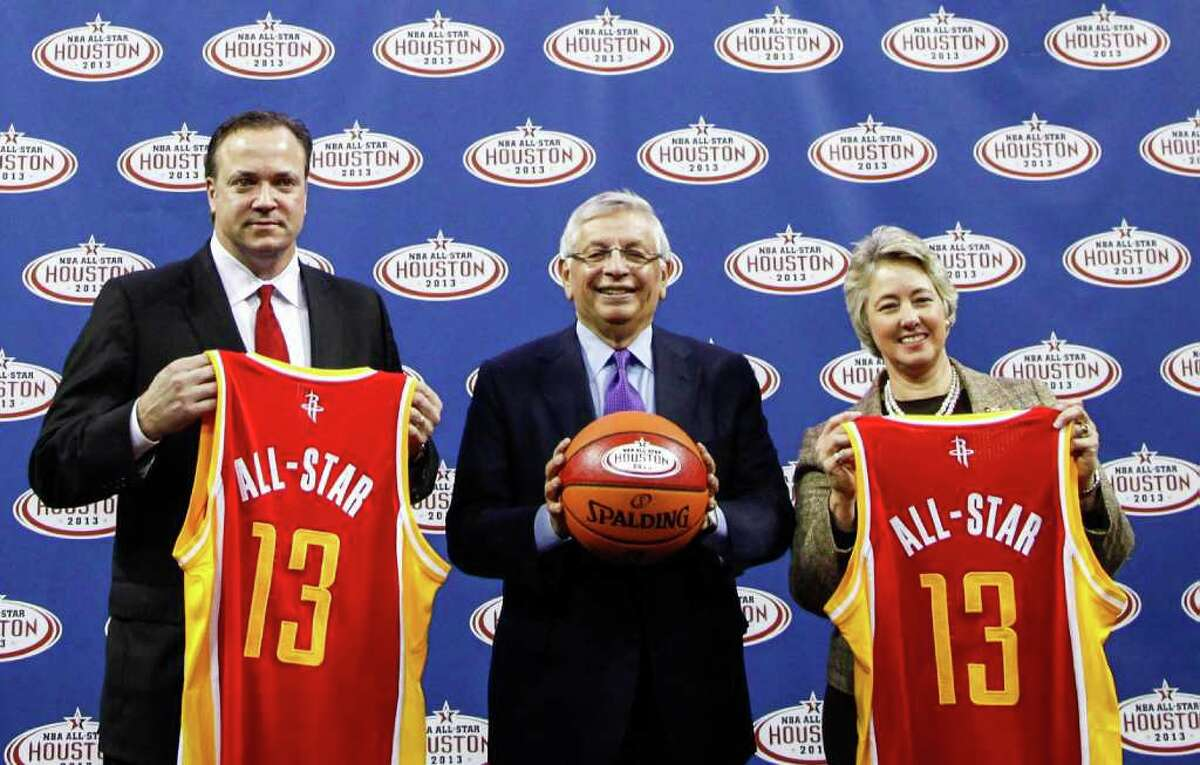 Rockets CEO Tad Brown, NBA Commissioner David Stern, and former Houston Mayor Annise Parker after the announcement that Houston will be hosting the 2013 NBA All-Star Game during a press conference at the Toyota Center.