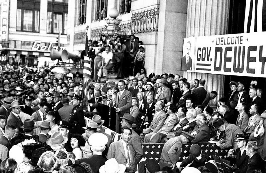 Sept. 26, 1948: Presidential candidate Thomas E. Dewey campaigns in Oakland. This Dewey guy looks promising. Think he'll defeat Truman? I'm amazed at the size of the rallies Republicans managed at places now considered Democrat strongholds. Photo: Chronicle Archives