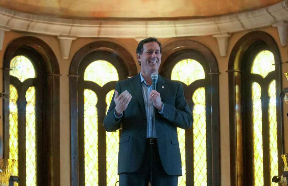 Republican presidential candidate, former Pennsylvania Sen. Rick Santorum speaks at the Bella Donna Chapel in McKinney, Texas, Wednesday, Feb. 8, 2012. (AP Photo/Rex C. Curry) Photo: Rex C. Curry