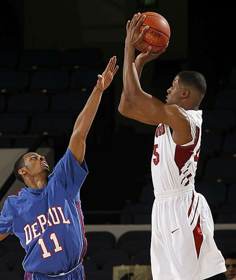 Stanford guard Jeremy Green, right, shoots over DePaul guard Jeremiah Kelly during the second half of an NCAA college basketball game at the 76 Classic in Anaheim, Calif., Sunday, Nov. 28, 2010. Stanford won 81-74 in overtime. Photo: Chris Carlson, AP